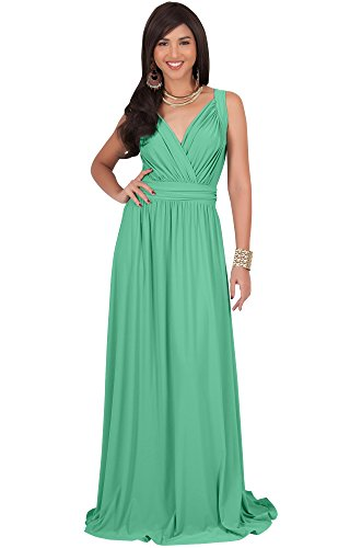 KOH KOH Plus Size Womens Long Sleeveless Flowy Bridesmaids Cocktail Party Evening Formal Sexy Summer Wedding Guest Ball Prom Gown Gowns Maxi Dress Dresses, Moss/Mint Green 2XL 18-20 -