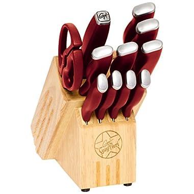 Guy Fieri 12-Piece Stainless Steel Knife Block Set, Red