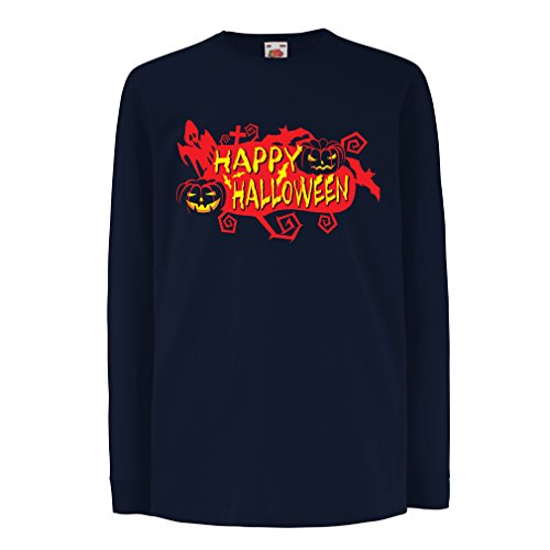 T-Shirt Kids Owls, Bats, Ghosts, Pumpkins - Halloween Outfit Full Spookiness (3-4 Years Blue Multi Color) ()