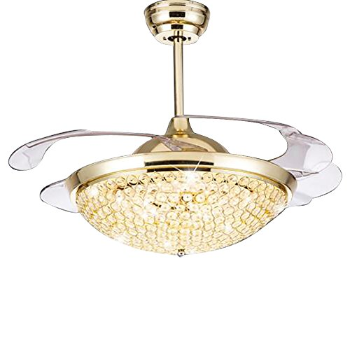 HAIXIANG Crystal Ceiling Invisible Remote Control Metal Ceiling Light Fan Lamp 42-inch Lighting Fan Chandelier Led Mute Lights Fixture (Gold Finish Ceiling Fans)