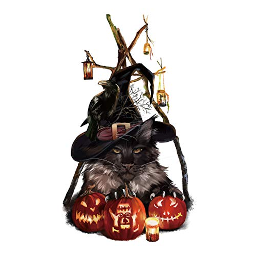 Iusun Halloween Wall Sticker Scary Cat Pumpkin Wallpaper Window Glass Toilet Cabinet Removable DIY Mural Paper Decoration for Living Room Home Nursery Bedroom Office Supplies Decal (A) (Mirror Tv Cabinet Wall)