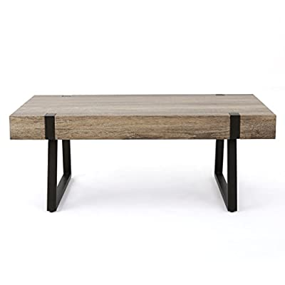 "Christopher Knight Home 299986 Genwa Canyon Grey Wood Coffee Table - Includes: one (1) Coffee table Dimensions: 23. 60"" D x 43. 25"" W x 16. 75"" H This sleek, modern Coffee table is a ideal for any living room, Bedroom, or office. With the perfect industrial touch in the legs of this table, it is a fantastic way to bridge multiple Styles in your home - living-room-furniture, living-room, coffee-tables - 41rgCfWHnjL. SS400  -"
