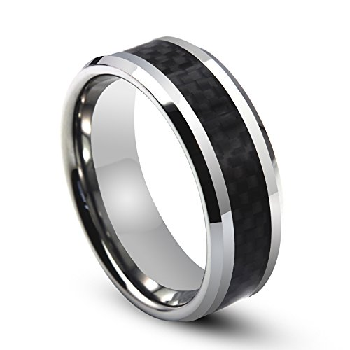 White Titanium Ring with Black Carbon Fiber Check Pattern Inlay Beveled Edges 8mm (10)