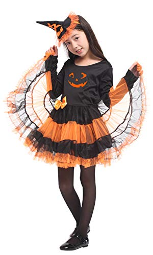 stylesilove Adorable Little Girls Halloween Costume Party Cosplay Dress (L/7-9 Years, Pumpkin Witch) ()