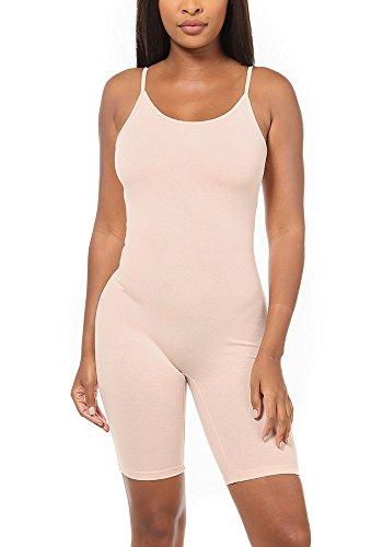 Karies Womens Spaghetti Strap Low Cut Bicycl Length Casuit Bodysuit(KJ8956) (Medium, Nude) - Spaghetti Strap Low Cut