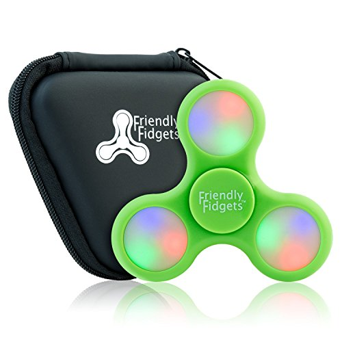Friendly Fidgets LED Fidget Spinner Prime With On Off Switch And Carrying Case (NEW VERSION) Stress Reducing EDC Tri Spinning Hand Fidget Toys With Lights for Kids & Adults (LED Spinner, Green)