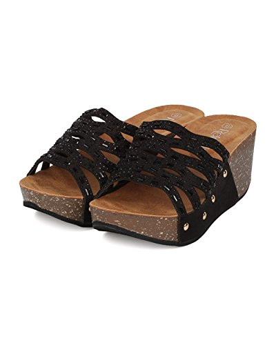 Women GI44 Sandal Platform Black Footbed Slide Toe Suede Molded Cutout Wedge Rhinestone Faux Alrisco by Open S1ggR
