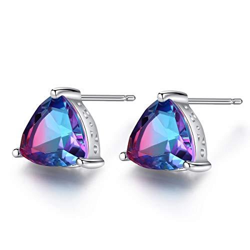 Mystic Topaz Stud Earrings Sterling Silver Rainbow Stone Trillion Cut Gemstone Fine Jewelry for Women
