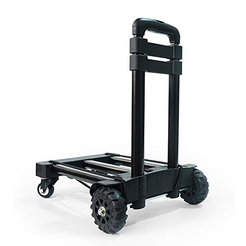 Trolley Luggage Carts Folding Compact, Universal Wheel Travel Cart, Telescopic Rod, Iron Tray, Household Or Work Carrying, Load Capacity 121lbs, 38.5in