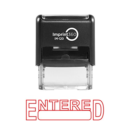 Imprint 360 AS-IMP1008 - ENTERED w/Signature Box, Heavy Duty Commerical Quality Self-Inking Rubber Stamp, Red Ink, 9/16 x 1-1/2 Impression Size, Laser Engraved for Clean, Precise Imprints
