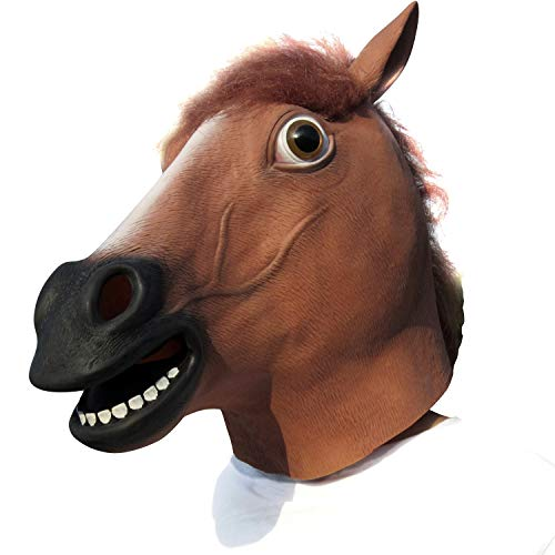 Aqkilo Horse Head mask Latex Animal Head mask Halloween Costume