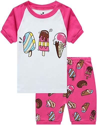 Children Pajamas for Girls Ice Cream Sleepwear Baby Clothes Summer Kids Short PJs Set 3t ()