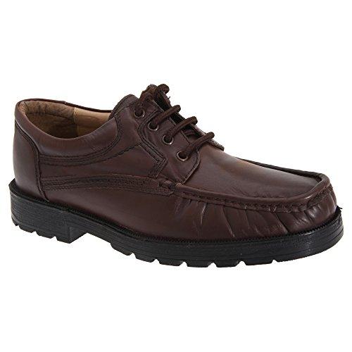 Roamers Herren Leder Apron Gibson Schuhe Schwarz