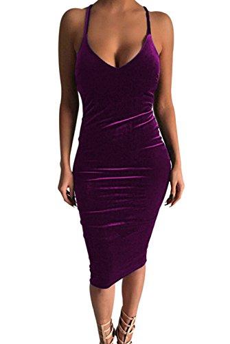 [Carprinass Women's Sleeveless Bodycon Midi Dress Velvet Club Bandage Dress ¡] (Sexy Purple Dress)