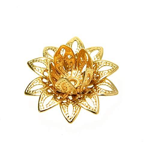 - Monrocco 40 Pcs Brass Filigree Flower Bead Caps Petal Bead End Caps Spacers