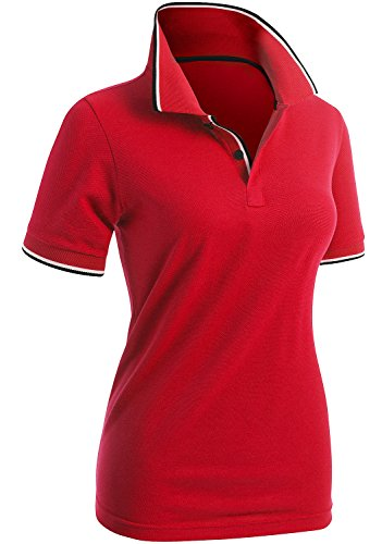 CLOVERY Women's Casual Basic Short Sleeve Polo Shirts RED US L/Tag L