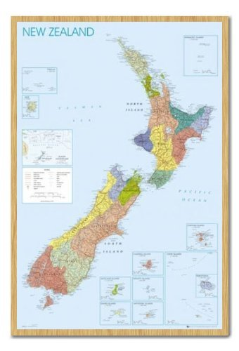 Iposters New Zealand Map Pin Board Framed In Beech Wood Includes Pins - 96.5 X 66 Cms (approx 38 X 26 Inches) (Framed Map Of New Zealand)