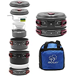 Bulin 27/13/11/8/3 PCS Camping Cookware Mess Kit, Nonstick Lightweight Backpacking Cooking Set, Outdoor Cook Gear for Family Hiking, Picnic(Kettle, Pot, Frying Pan, BPA-Free Bowls, Plates, Spoon)
