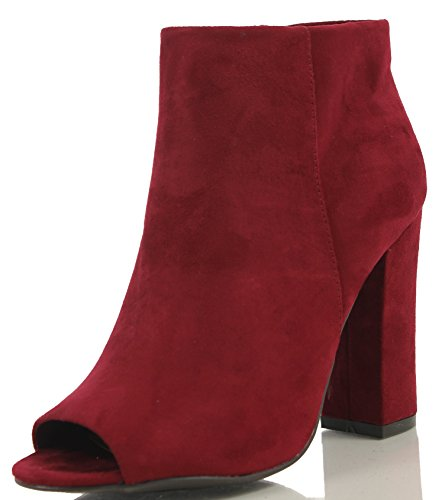 Bamboo Women's Faux Suede Peep Toe Wrap Chunky Heel Ankle Bootie