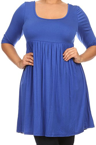 Casual Corner Clothes (Women Plus Size Half Sleeve Solid Babydoll Casual Tunic Top Dress Royal 3XL (D240 SD))