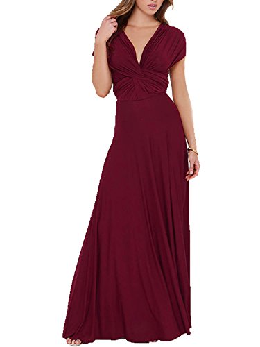 CHOiES record your inspired fashion Women's Gown Dress Burgundy Multi-Way Strap Wrap Maxi Dress S