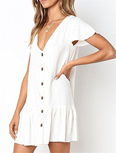 Sleeve Solid Stylish Dress Domple Neck White Ruffle Mini V Women Buttons Short UxfwZqp
