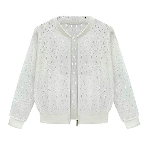 Sleeve Women Up White Sun Solid Zip Jacket GRMO Long Protect Lace Summer zqFdRz