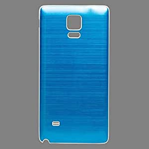 Goliton® 2014 New fashion Metal Aluminium Brush Style with White Plastic Bracket Frame Battery Back Cover for Samsung Galaxy Note 4-light blue with white side