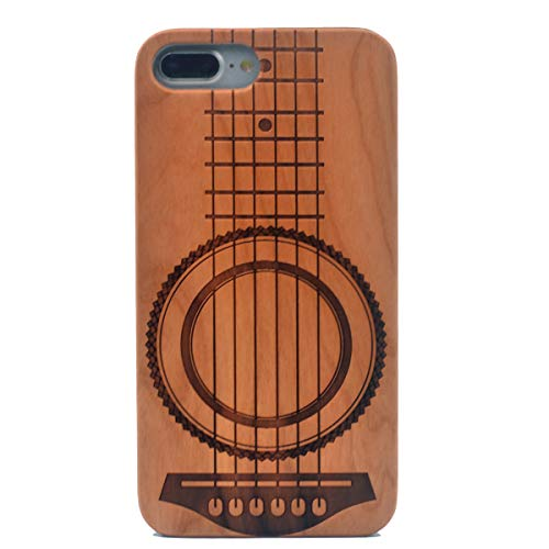 iPhone 7 Plus Wood Case, Guitar Music Theme Handmade Carving Real Wooden Case Cover with Soft TPU Back for Apple iPhone 7 Plus/iPhone 8 Plus