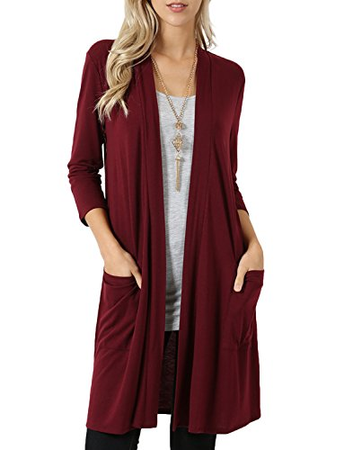3 Open Pockets (NE PEOPLE Womens Basic 3/4 Sleeve Open Front Cardigan with Pockets S-3XL)