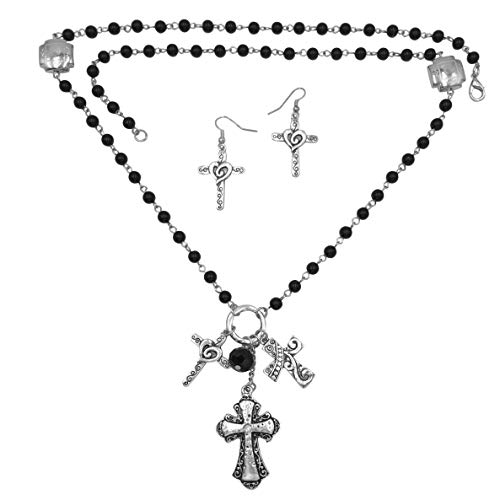 Gypsy Jewels Faith Cross Theme Mixed Charms Long Tassel Necklace & Earring Set (Black Triple Cross)