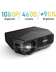 Vidéoprojecteur, BOSNAS 4600 Lumens Soutien Full HD 1080P Rétroprojecteur pour Home Cinéma Le avec Haut-Parleurs Stéréo HiFi,Prend en Charge Les Ports HDMI VGA AV SD