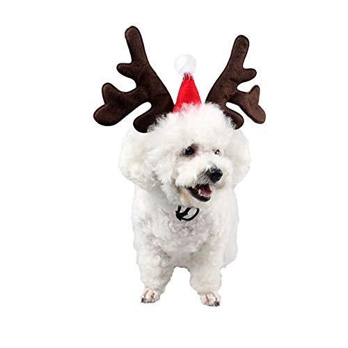 Pet Christmas Moose Antlers Headband Dogs Cats Adjustable Hat Cosplay Party Gift Cats Antler Headband Doggy Head Hoop Pet Supplies