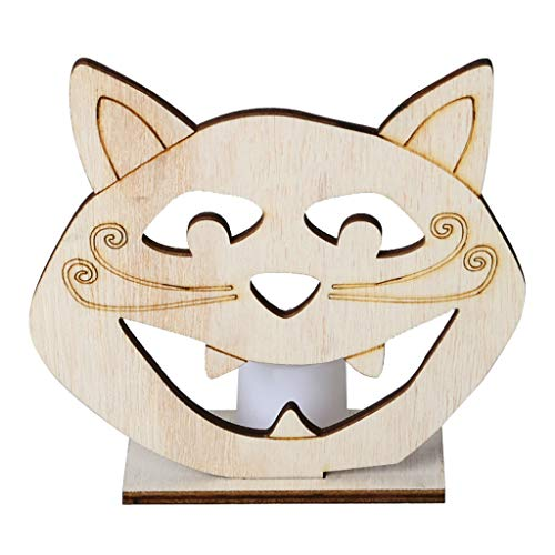 Beioust DIY Wooden Halloween Cat Head Hollow Pendant Plate Ornament with LED Candy Light Lamp Home Party Decor Supplies -
