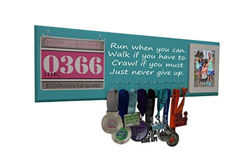 Running on the Wall Medal Hanger Display and Race Bibs