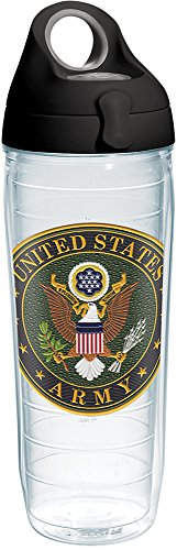 Tervis 1282389 Army Classic Seal Flex Tumbler with Emblem and Black with Gray Lid 24oz Water Bottle, Clear