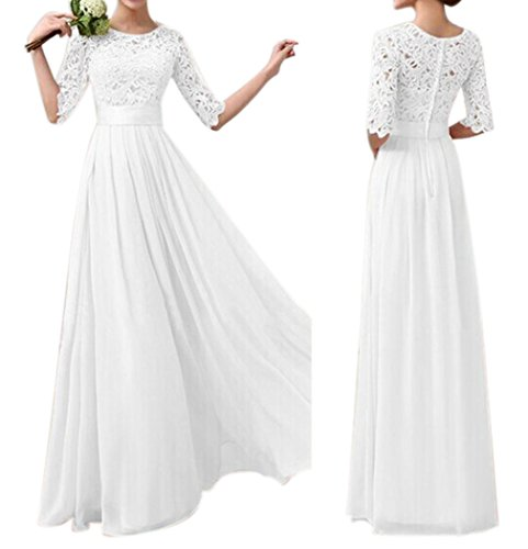 Min Qiao Womens Elegant Floral Lace Party Wedding Evening Gown Chiffon Dresses