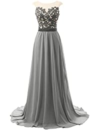 Long Prom Dresses Lace Open Back Chiffon Bridesmaid Dress Cap Sleeve Evening Party Gown