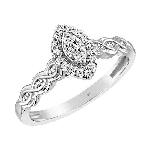 10K White Gold & 1/6 Cttw Diamond Marquise Halo Eternal Twist Engagement Ring (I-J Color, I2-I3 Clarity), Size ()