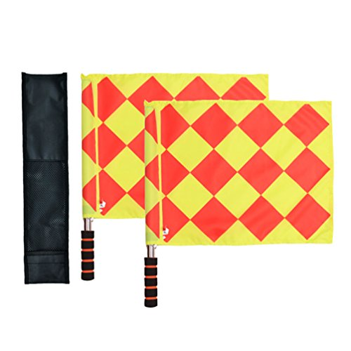 Odowalker Soccer Linesman Referee Flags Metal Pole Foam Handle with Carring Tote