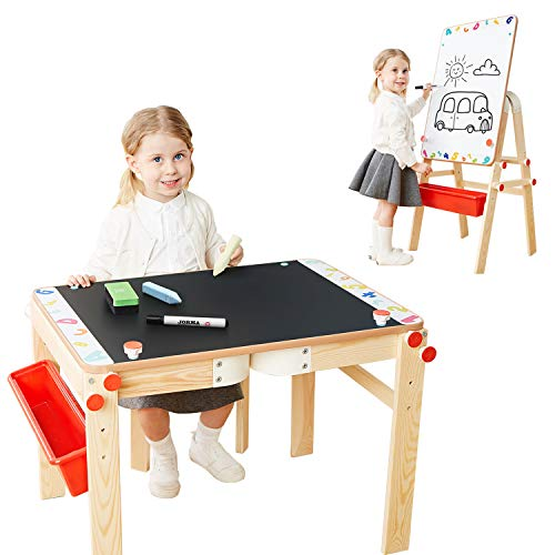 TOP BRIGHT Kids Art Table Easel,Art Easel for Toddlers Adjustable,Wooden Child Easel and Chalkboard]()