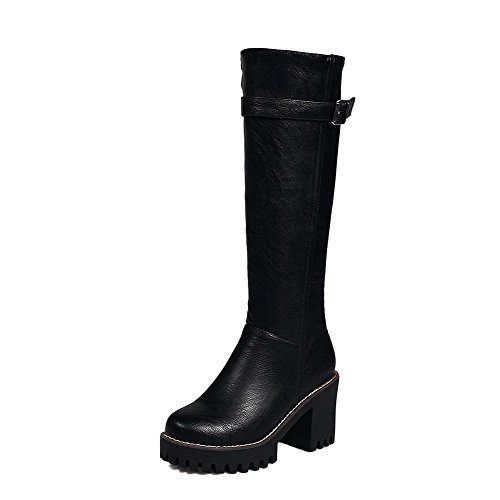 Allhqfashion Women's Zipper Round Closed Toe High-Heels PU High-top Boots Black SbyFxi