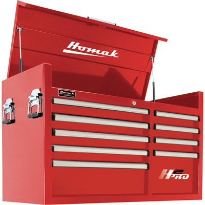 Homak H2PRO 41in. 9-Drawer Top Tool Chest - Red, 41 1/8in.W x 21 3/4in.D x 24 1/2in.H, Model# RD0201091