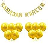 Desirca 1 Set Banner Glitter And Eid Balloon Festival Bunting Muslim Mubarak Decoration Ramadan Supplies Gold Moon