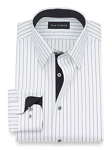 Paul Fredrick Men's Classic Fit Non-Iron Cotton Stripe Dress Shirt