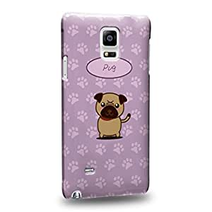 Case88 Premium Designs Art Collections Hand Drawing Cartoon puppy pug Protective Snap-on Hard Back Case Cover for Samsung Galaxy Note 4