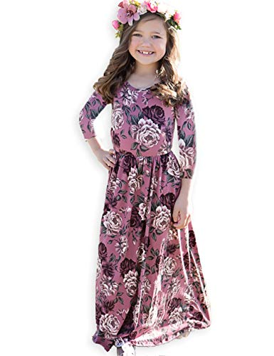 (Girls Maxi Dress,Kids Floral Casual T-Shirt 3/4 Sleeve Dresses with Pocket for Girls 6-12T)