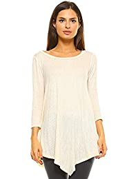 Womens Tunic 3/4 Sleeve Handkerchief Hem Top T Shirts Made In USA