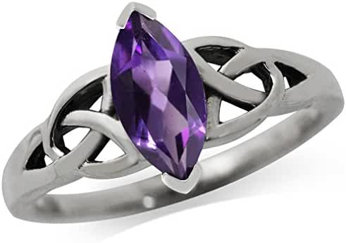Natural Amethyst 925 Sterling Silver Triquetra Celtic Knot Ring