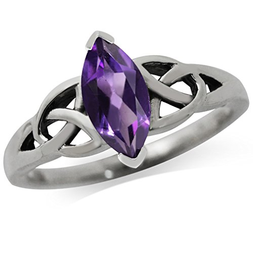 Natural Amethyst 925 Sterling Silver Triquetra Celtic Knot Ring Size 7